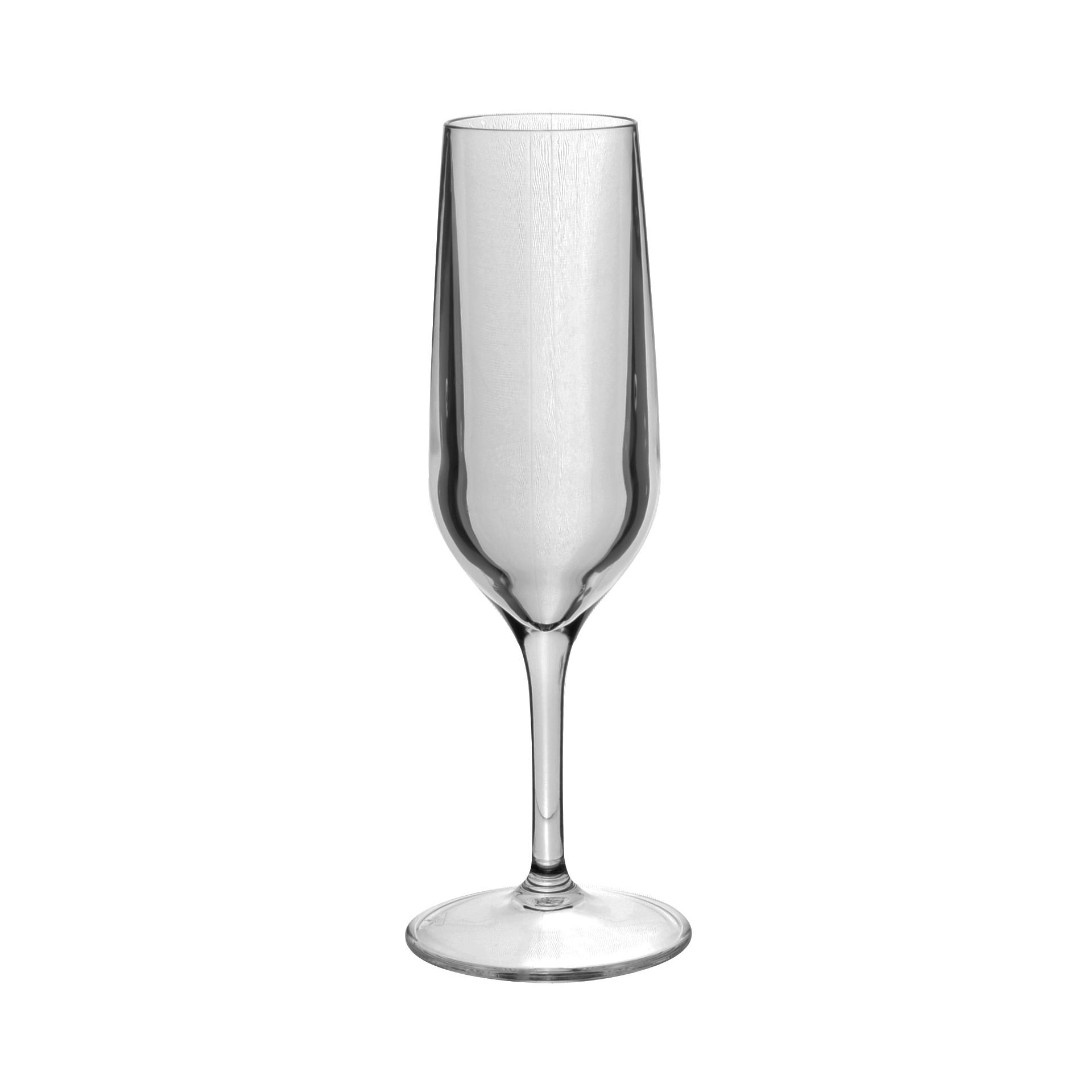 set of 6 tao plastic champagne glasses
